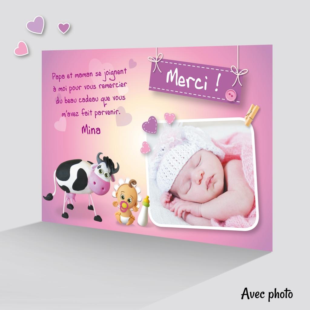 Carte Special Remerciement Fille Avec Une Vache Rigolote Avec Photo Joli Faire Part