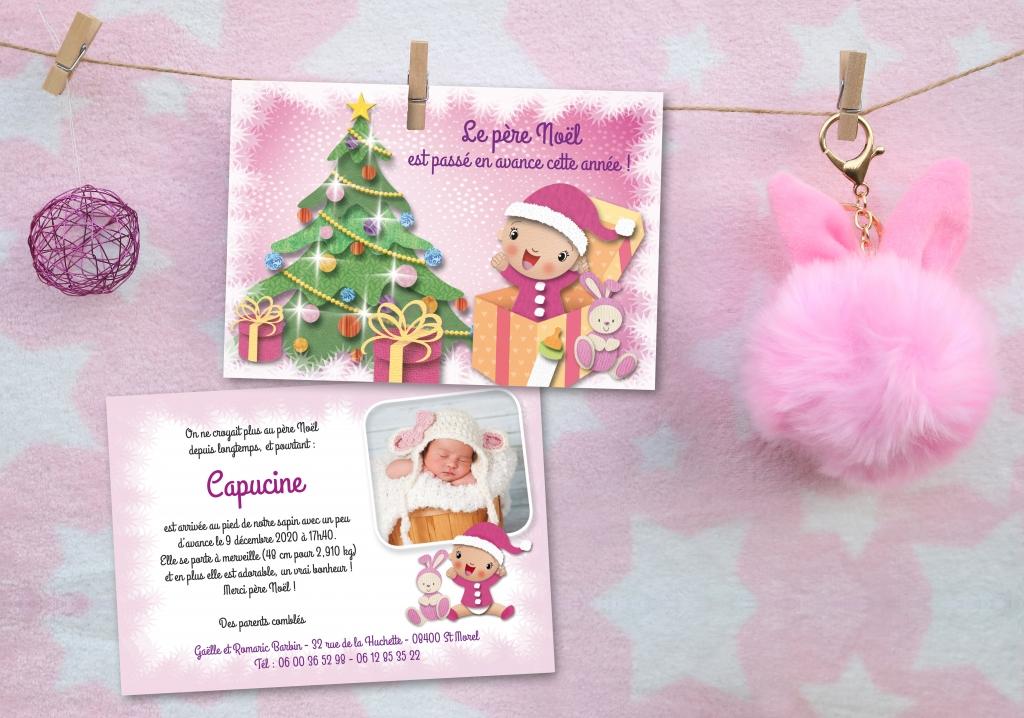 convient aux hommes/femmes vente moins chère vif et grand en style Faire-Part Naissance Noël Fille Bébé avec Sapin