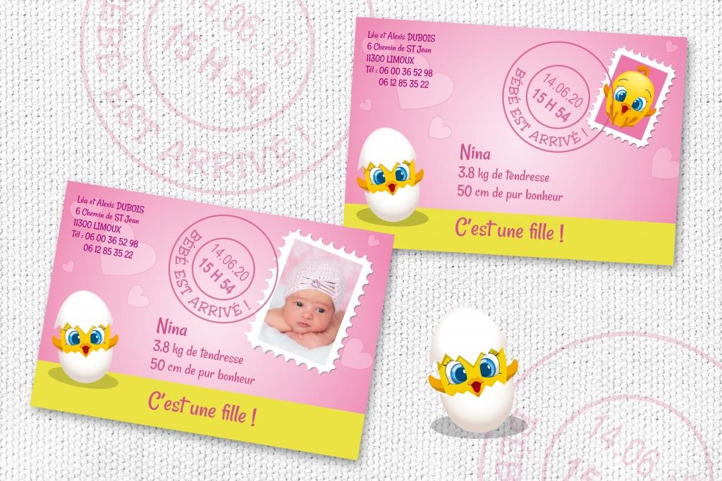 Faire Part Naissance Fille avec une Carte Postale et Timbre Original - Joli faire part