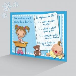 Carte Merci Naissance Garçon Bleu Photo Bébé