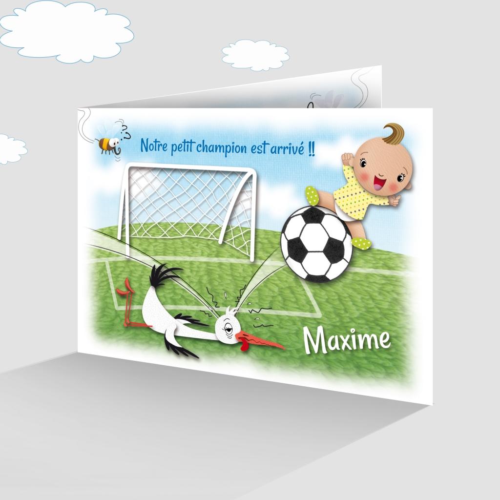 Faire Part De Naissance Drole Pour Les Fans De Foot Avec Une Cigogne Joli Faire Part